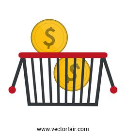shopping basket with coins