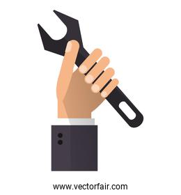 Hand with wrench symbol