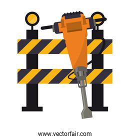 isolated construction barrier and concrete drill