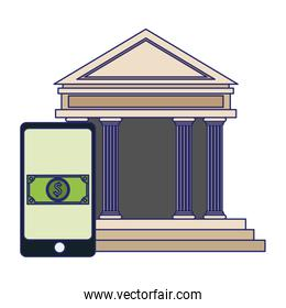 smartphone online payment and bank building blue lines