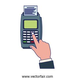 credit card reader electronic payment blue lines