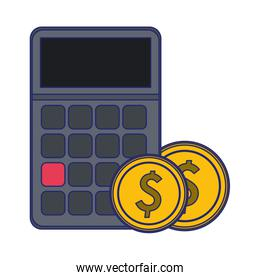 calculator with coins symbol blue lines