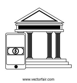 smartphone online payment and bank building black and white