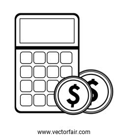 calculator with coins symbol black and white