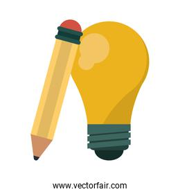 big idea bulb light and pencil symbol