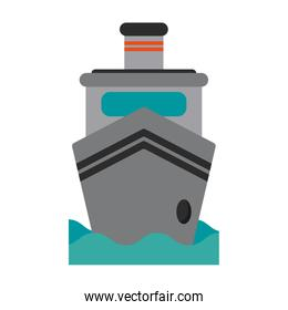 Freighter ship in sea frontview