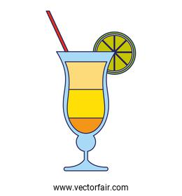 summer cocktail with lemon and straw