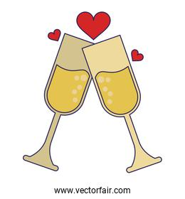 champagne cups toast with hearts