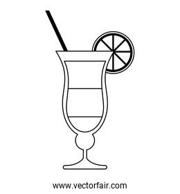 summer cocktail with lemon and straw black and white