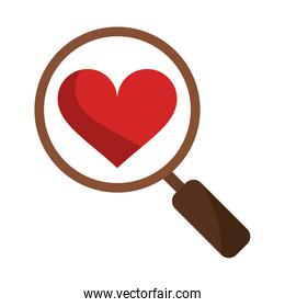 Magnifying glass on heart symbol