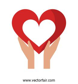 hands holding heart symbol isolated