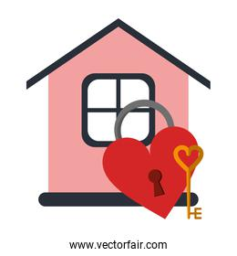 house with heart shaped padlock and key