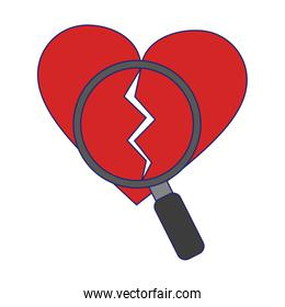 heart broken and magnifying glass blue lines