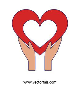 hands holding heart symbol isolated blue lines