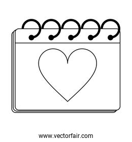 calendar with heart on planner black and white