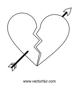 heart broken with bow arrow symbol black and white