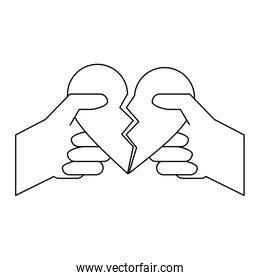 hands with broken heart cartoon black and white