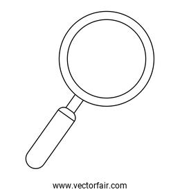 magnifying glass symbol isolated black and white