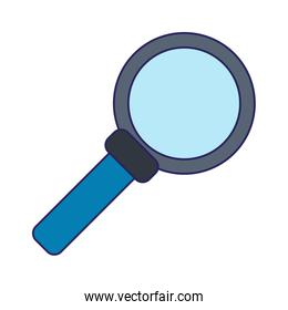 magnifying glass symbol isolated blue lines