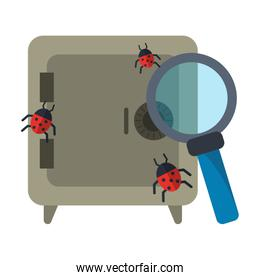 Strongbox with bugs and magnifying glass