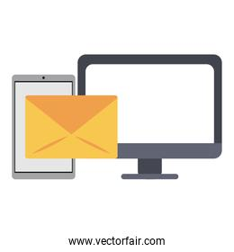smartphone sending email to computer