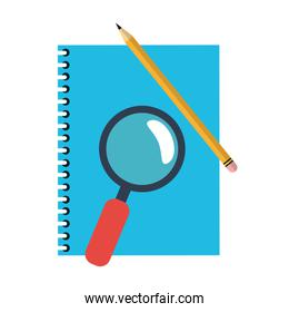 address book and magnifying glass with pencil