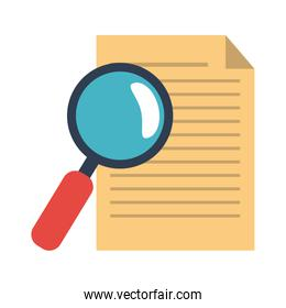 Document and magnifying glass symbol