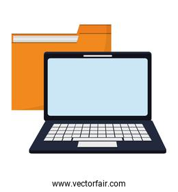 Laptop computer and folder symbol