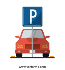 Car on parking zone
