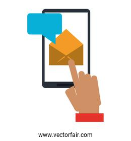 hand sending email with smartphone