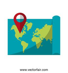 world map with pin location symbol