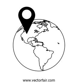 location pin in world globe in black and white
