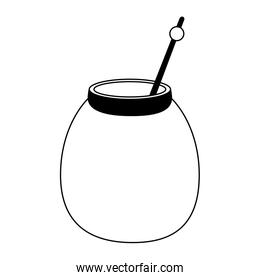 Honey jar with stick in black and white