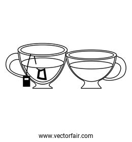 Hot tea drink cups in black and white