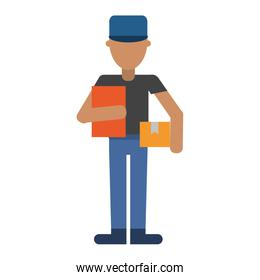 Courier with boxes professional worker avatar over white