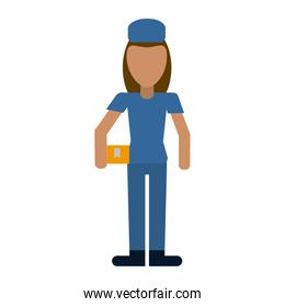 Courier with boxes professional worker avatar