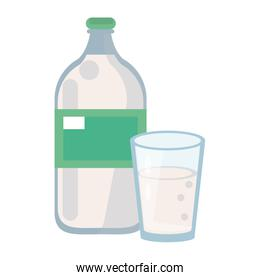 Milk bottle and cup cartoon isolated
