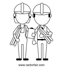 Construction workers avatars in black and white