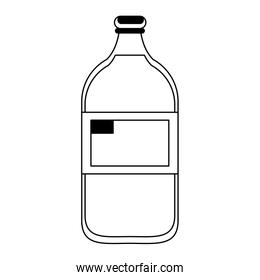 Milk bottle dairy drink in black and white
