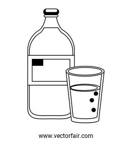 Milk bottle and cup cartoon isolated in black and white
