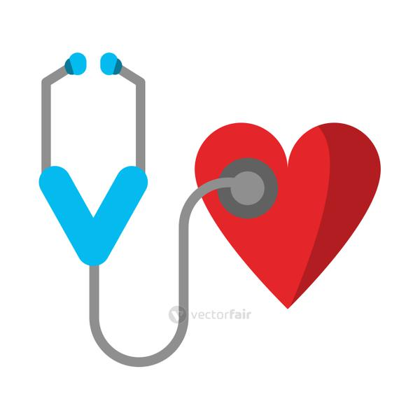 Stethoscope and heart medical symbol
