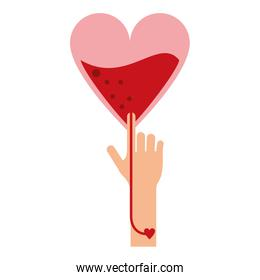 heart blood bag transfering to arm