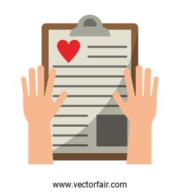 hands holding medical clipboard document