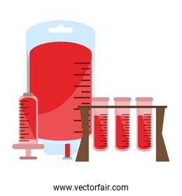blood bag and test tubes