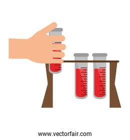 hand holding blood test tubes