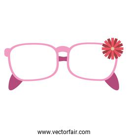 fashion glasses with flower cartoon