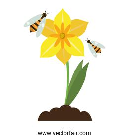 Flower with bees cartoon isolated