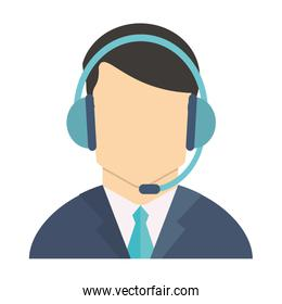 Call center agent with headphones avatar over white