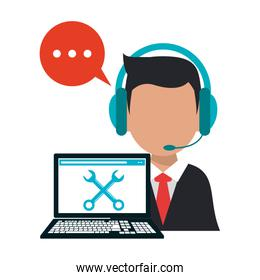 Call center operator with laptop technical support