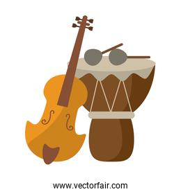 Acoustic guitar and drum with sticks